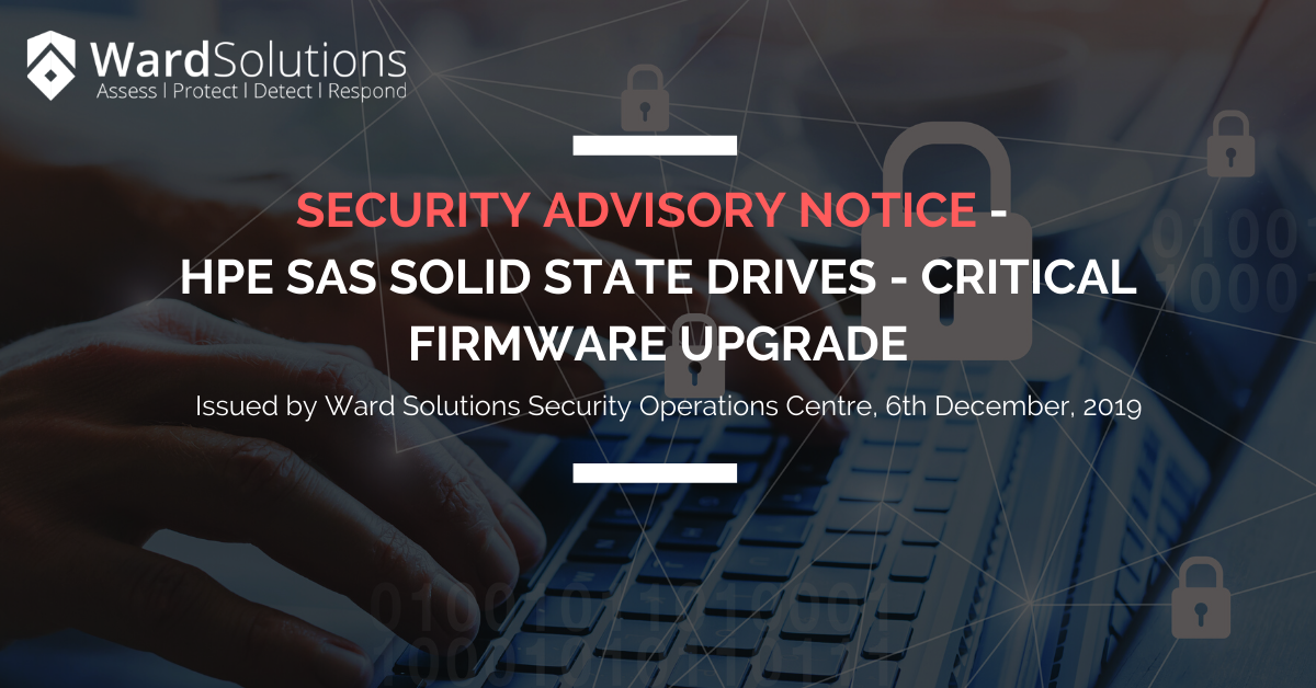 Security Advisory Notice – HPE SAS Solid State Drives…